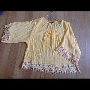Tops - Yellow crochet top